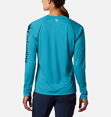 Women's PFG Tidal Tee™ II Long Sleeve Shirt Tidal Tee™ II Long Sleeve | 759 | S, Clear Water, Collegiate Navy Logo, back
