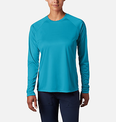 Women's PFG Tidal Tee™ II Long Sleeve Shirt Tidal Tee™ II Long Sleeve | 759 | S, Clear Water, Collegiate Navy Logo, front