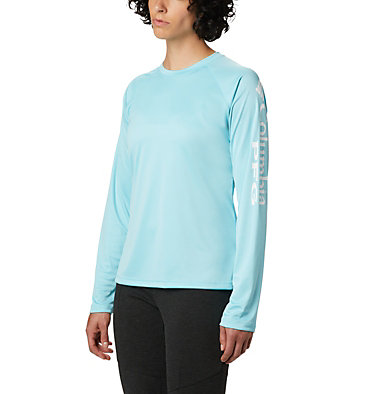 Women's PFG Tidal Tee™ II Long Sleeve Shirt Tidal Tee™ II Long Sleeve | 759 | XS, Clear Blue, White Logo, front