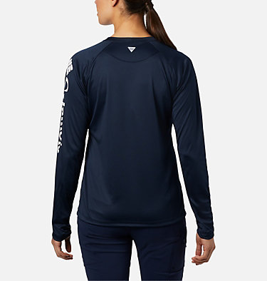 Women's PFG Tidal Tee™ II Long Sleeve Shirt Tidal Tee™ II Long Sleeve | 759 | S, Collegiate Navy, White Logo, back