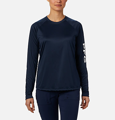 Women's PFG Tidal Tee™ II Long Sleeve Shirt Tidal Tee™ II Long Sleeve | 759 | S, Collegiate Navy, White Logo, front