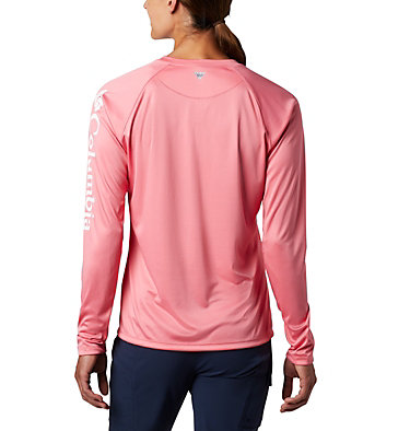 Women's PFG Tidal Tee™ II Long Sleeve Shirt Tidal Tee™ II Long Sleeve | 759 | XS, Lollipop, White Logo, back
