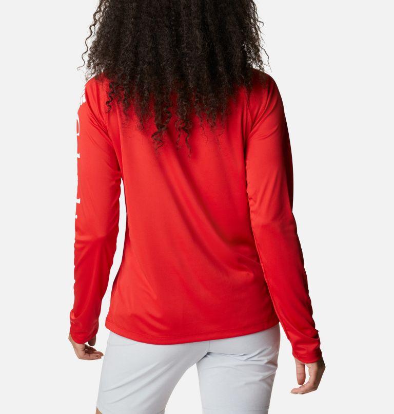 Tidal Tee™ II Long Sleeve   696   XL Women's PFG Tidal Tee™ II Long Sleeve Shirt, Red Spark, White Logo, back
