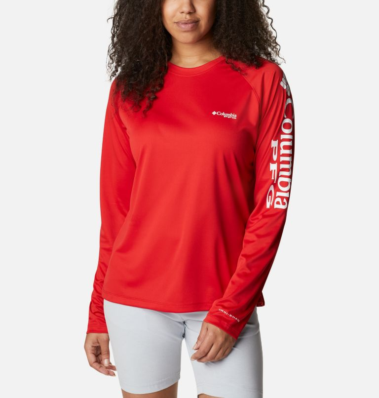 Tidal Tee™ II Long Sleeve   696   XL Women's PFG Tidal Tee™ II Long Sleeve Shirt, Red Spark, White Logo, front