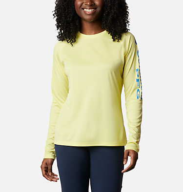 Women's PFG Tidal Tee™ II Long Sleeve Shirt Tidal Tee™ II Long Sleeve | 759 | S, Sunnyside, Azure Blue Logo, front