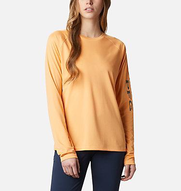 Women's PFG Tidal Tee™ II Long Sleeve Shirt Tidal Tee™ II Long Sleeve   759   S, Light Juice, City Grey Logo, front