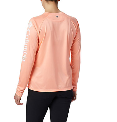 Women's PFG Tidal Tee™ II Long Sleeve Shirt Tidal Tee™ II Long Sleeve | 759 | S, Tiki Pink, White Logo, back
