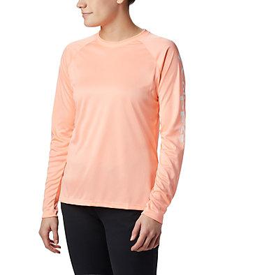 Women's PFG Tidal Tee™ II Long Sleeve Shirt Tidal Tee™ II Long Sleeve | 759 | S, Tiki Pink, White Logo, front
