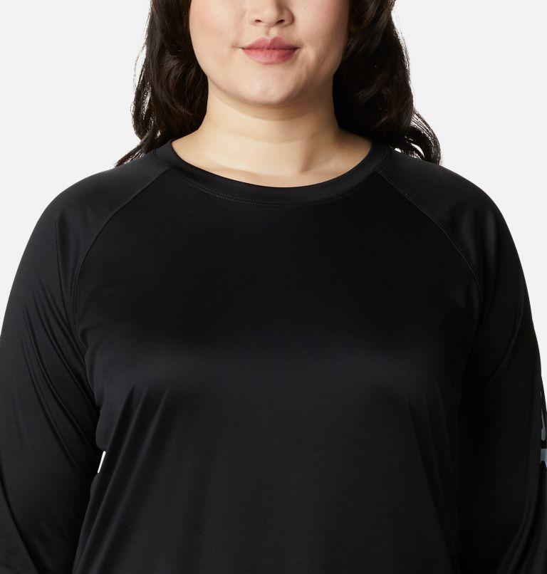Tidal Tee™ II Long Sleeve   011   3X Women's PFG Tidal Tee™ II Long Sleeve - Plus Size, Black, Cirrus Grey Logo, a2
