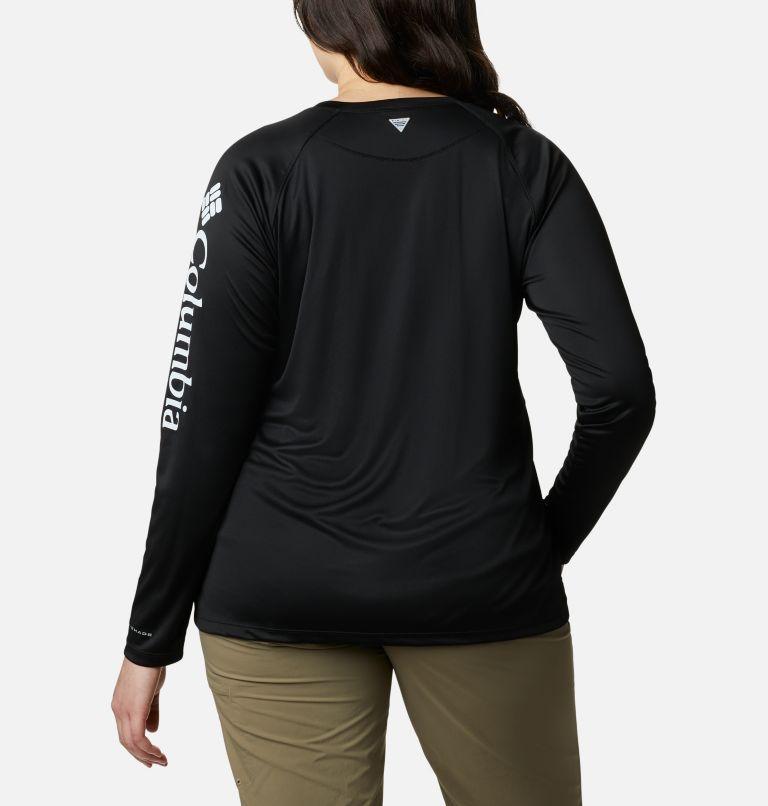 Tidal Tee™ II Long Sleeve   011   3X Women's PFG Tidal Tee™ II Long Sleeve - Plus Size, Black, Cirrus Grey Logo, back