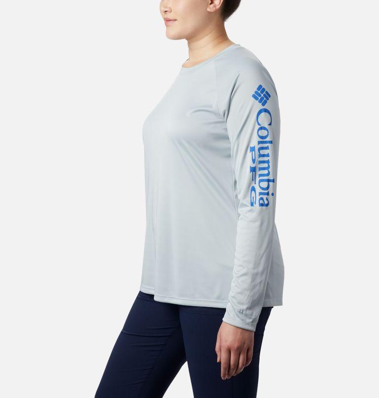 Tidal Tee™ II Long Sleeve | 032 | 3X Women's PFG Tidal Tee™ II Long Sleeve - Plus Size, Cirrus Grey, Stormy Blue Logo, a1