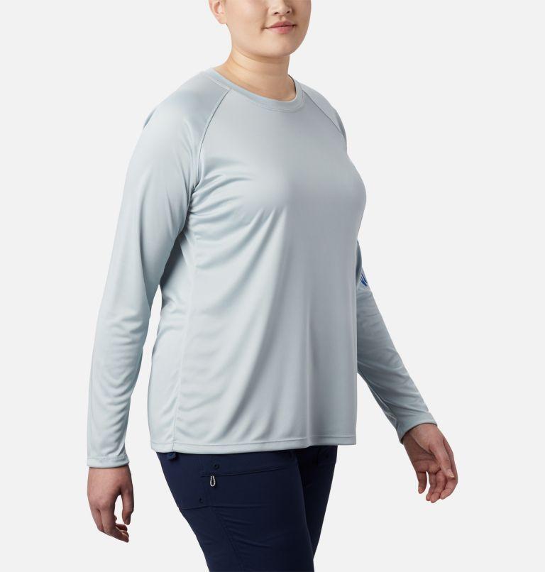 Tidal Tee™ II Long Sleeve | 032 | 3X Women's PFG Tidal Tee™ II Long Sleeve - Plus Size, Cirrus Grey, Stormy Blue Logo, a3