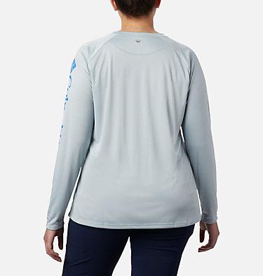 Women's PFG Tidal Tee™ II Long Sleeve - Plus Size Tidal Tee™ II Long Sleeve   759   2X, Cirrus Grey, Stormy Blue Logo, back
