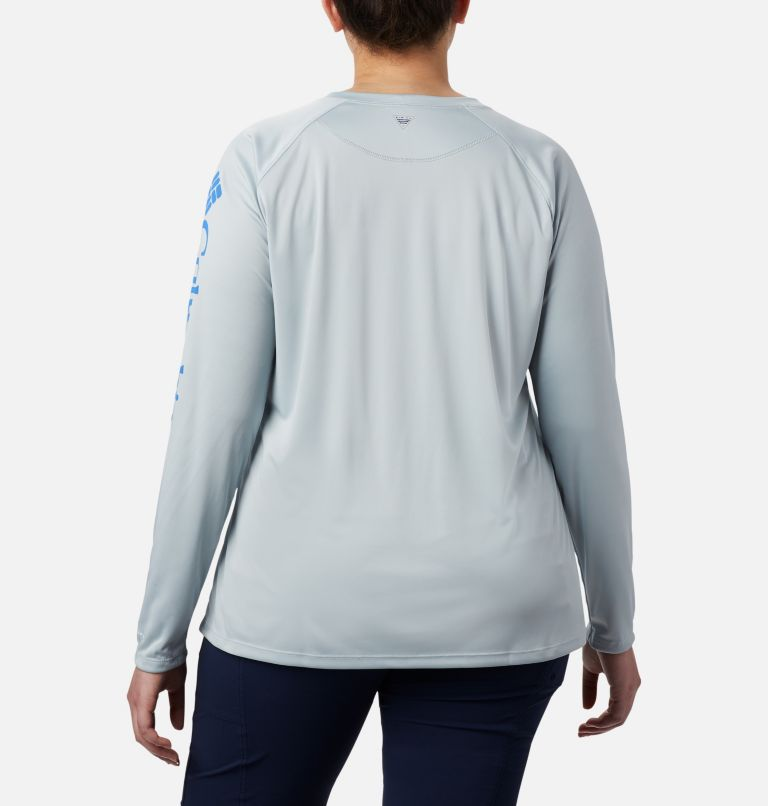 Tidal Tee™ II Long Sleeve | 032 | 3X Women's PFG Tidal Tee™ II Long Sleeve - Plus Size, Cirrus Grey, Stormy Blue Logo, back