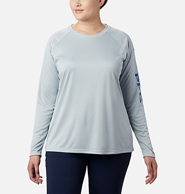 Women's PFG Tidal Tee™ II Long Sleeve - Plus Size Tidal Tee™ II Long Sleeve   759   2X, Cirrus Grey, Stormy Blue Logo, front