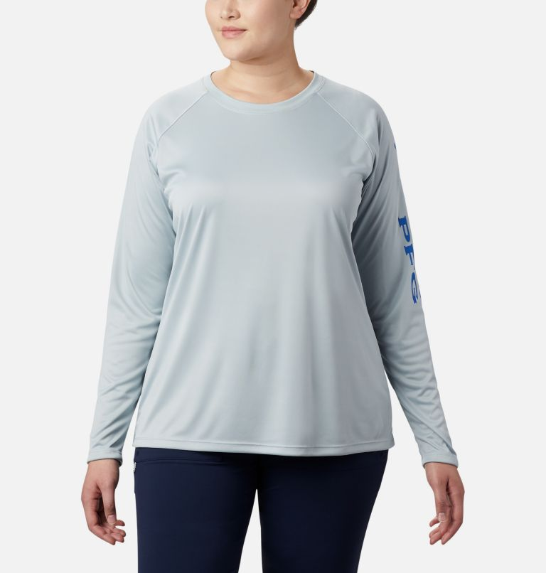 Tidal Tee™ II Long Sleeve | 032 | 3X Women's PFG Tidal Tee™ II Long Sleeve - Plus Size, Cirrus Grey, Stormy Blue Logo, front