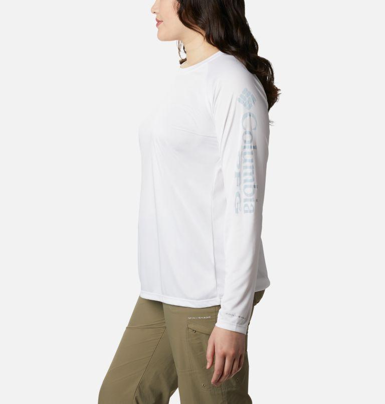 Tidal Tee™ II Long Sleeve | 107 | 1X Women's PFG Tidal Tee™ II Long Sleeve - Plus Size, White, Cirrus Grey Logo, a1