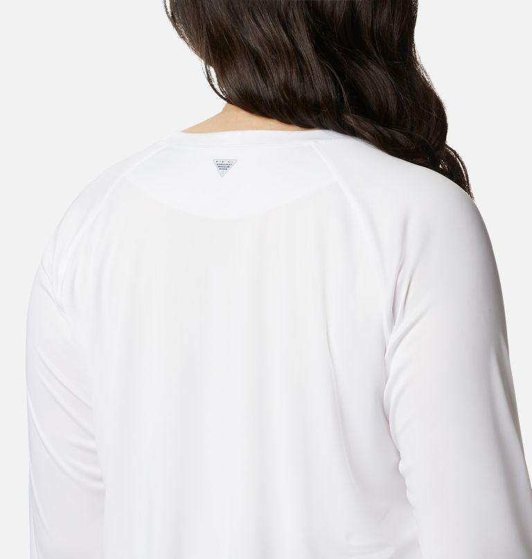 Tidal Tee™ II Long Sleeve | 107 | 2X Women's PFG Tidal Tee™ II Long Sleeve - Plus Size, White, Cirrus Grey Logo, a3