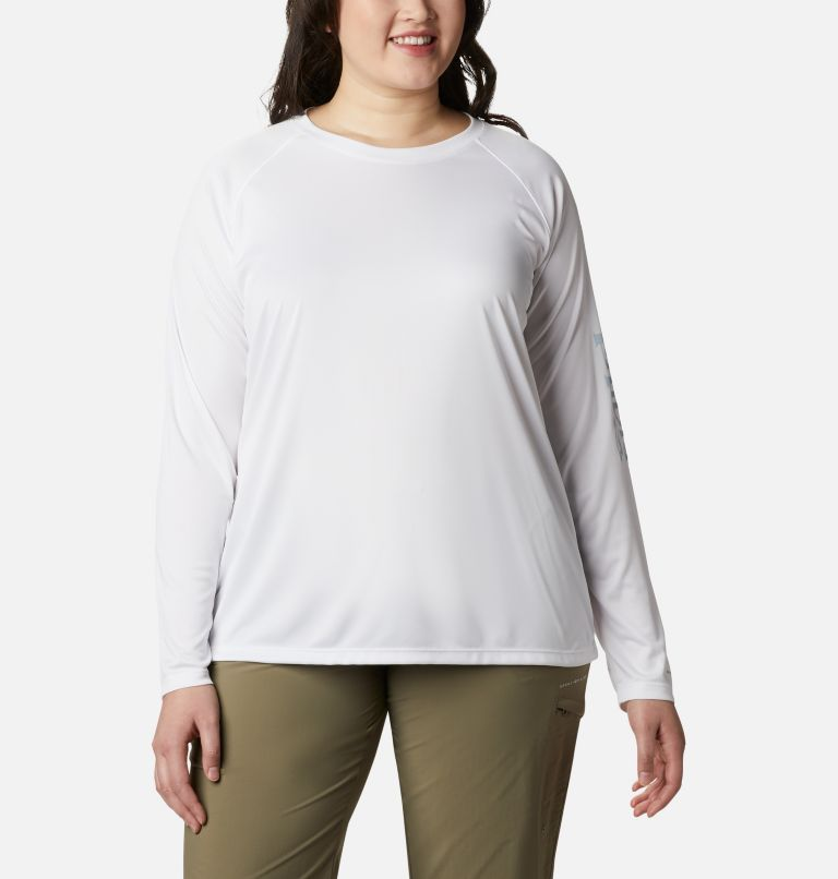 Tidal Tee™ II Long Sleeve | 107 | 1X Women's PFG Tidal Tee™ II Long Sleeve - Plus Size, White, Cirrus Grey Logo, front