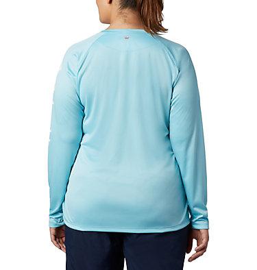 Women's PFG Tidal Tee™ II Long Sleeve - Plus Size Tidal Tee™ II Long Sleeve   759   2X, Clear Blue, White Logo, back