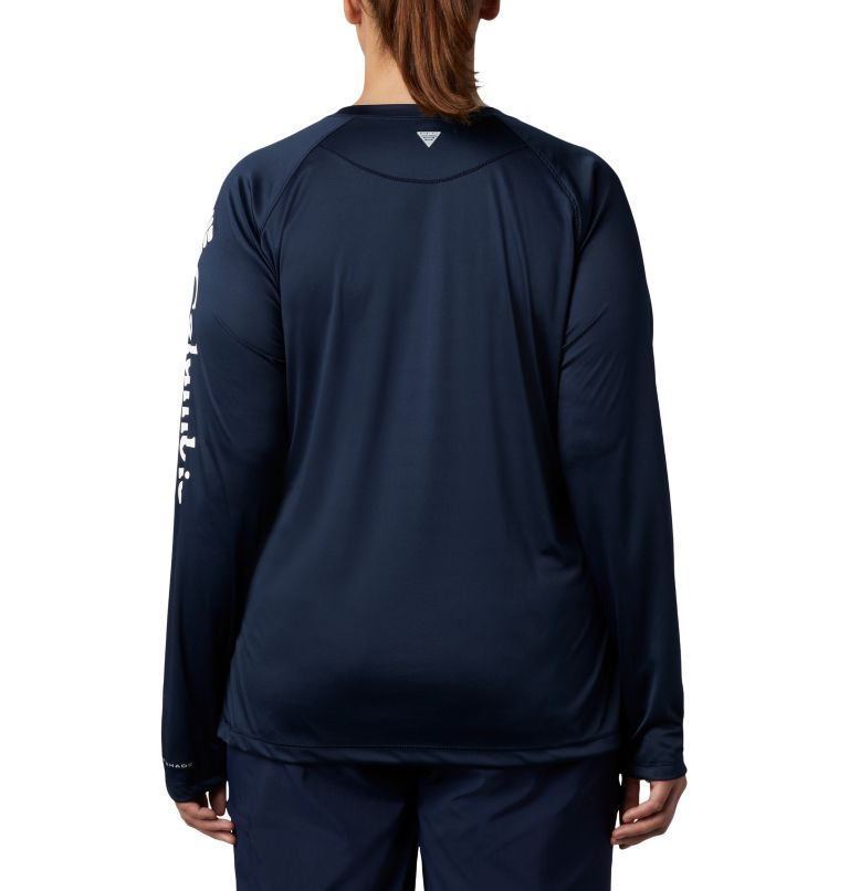 Tidal Tee™ II Long Sleeve | 465 | 3X Women's PFG Tidal Tee™ II Long Sleeve - Plus Size, Collegiate Navy, White Logo, back