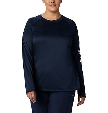 Women's PFG Tidal Tee™ II Long Sleeve - Plus Size Tidal Tee™ II Long Sleeve   759   2X, Collegiate Navy, White Logo, front