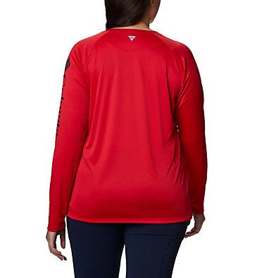 Women's PFG Tidal Tee™ II Long Sleeve - Plus Size Tidal Tee™ II Long Sleeve   759   2X, Red Lily, Collegiate Navy Logo, back