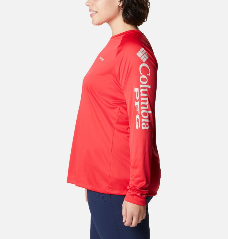 Tidal Tee™ II Long Sleeve   659   3X Women's PFG Tidal Tee™ II Long Sleeve - Plus Size, Red Lily, Light Cloud Logo, a1