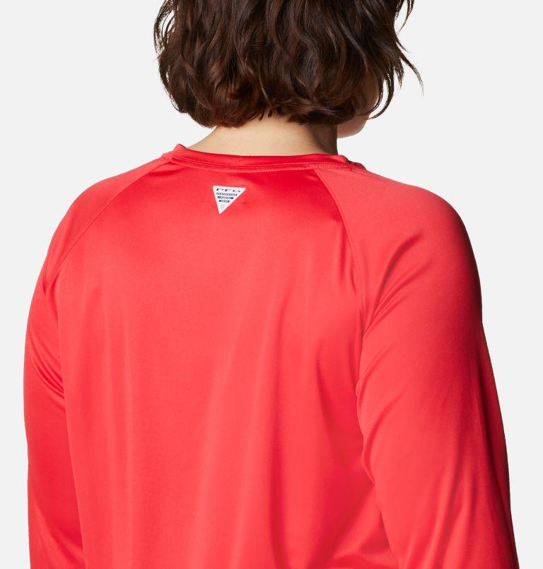 Tidal Tee™ II Long Sleeve   659   3X Women's PFG Tidal Tee™ II Long Sleeve - Plus Size, Red Lily, Light Cloud Logo, a3