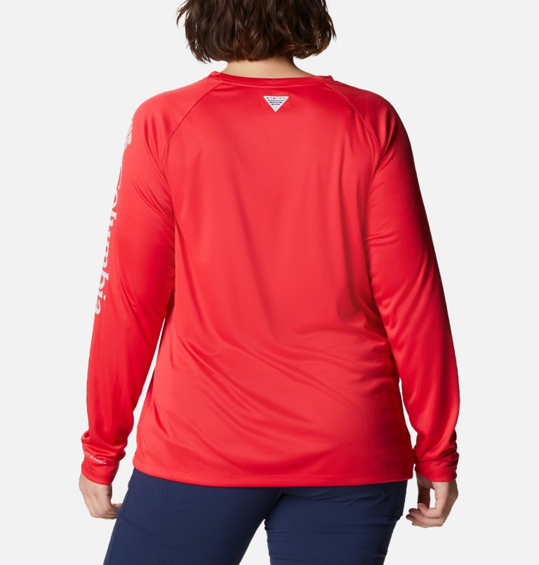 Tidal Tee™ II Long Sleeve   659   3X Women's PFG Tidal Tee™ II Long Sleeve - Plus Size, Red Lily, Light Cloud Logo, back