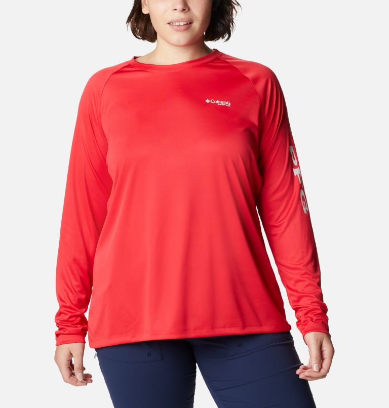 Tidal Tee™ II Long Sleeve   659   3X Women's PFG Tidal Tee™ II Long Sleeve - Plus Size, Red Lily, Light Cloud Logo, front