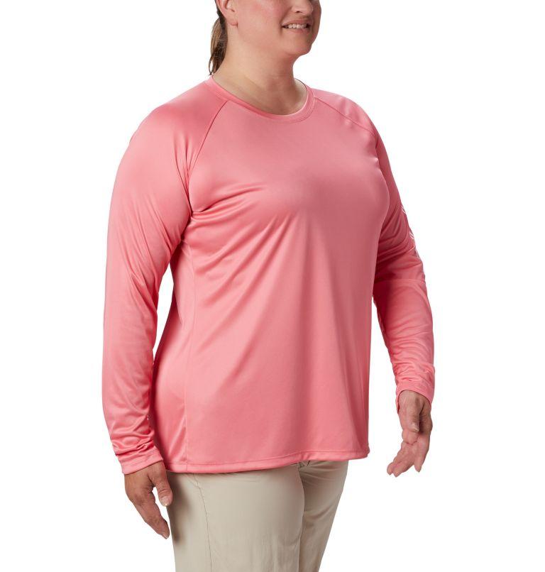 Tidal Tee™ II Long Sleeve | 675 | 2X Women's PFG Tidal Tee™ II Long Sleeve - Plus Size, Lollipop, White Logo, a3