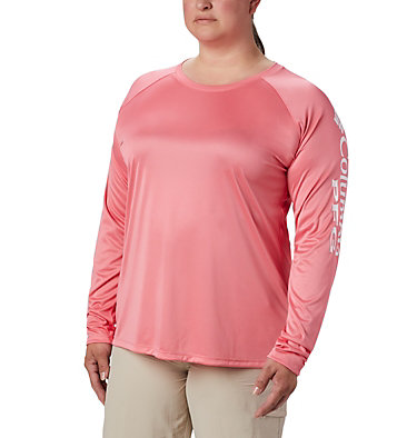 Women's PFG Tidal Tee™ II Long Sleeve - Plus Size Tidal Tee™ II Long Sleeve   759   2X, Lollipop, White Logo, front