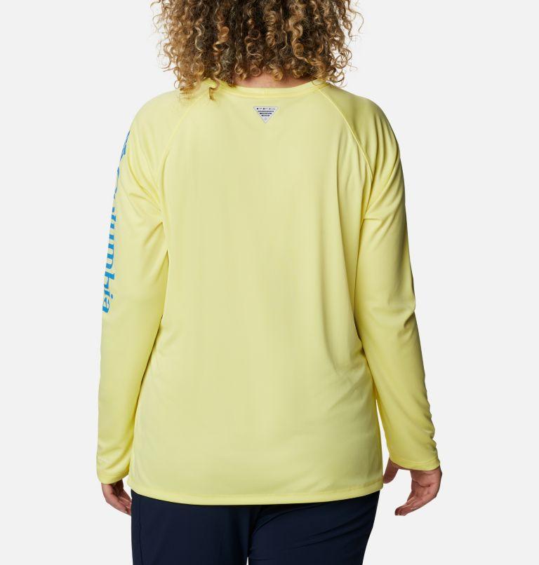 Tidal Tee™ II Long Sleeve | 759 | 1X Women's PFG Tidal Tee™ II Long Sleeve - Plus Size, Sunnyside, Azure Blue Logo, back