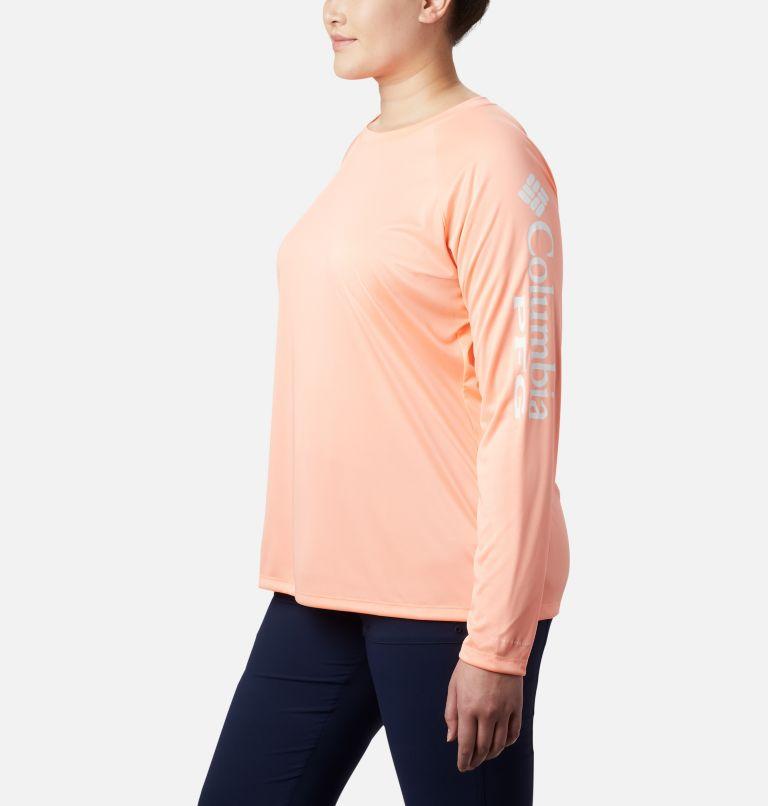 Tidal Tee™ II Long Sleeve | 884 | 3X Women's PFG Tidal Tee™ II Long Sleeve - Plus Size, Tiki Pink, White Logo, a1