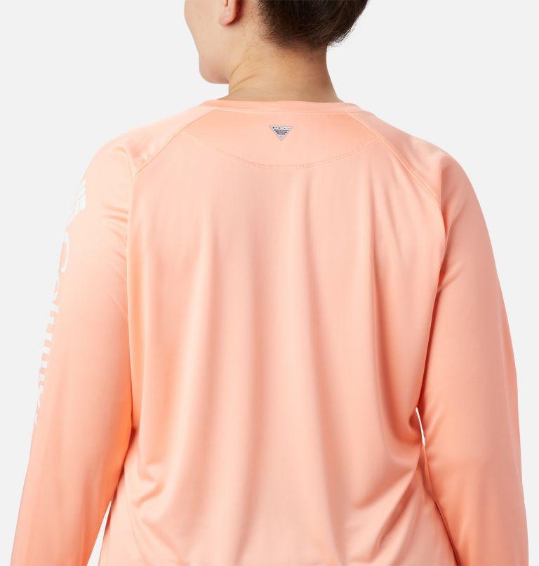 Tidal Tee™ II Long Sleeve | 884 | 3X Women's PFG Tidal Tee™ II Long Sleeve - Plus Size, Tiki Pink, White Logo, a2