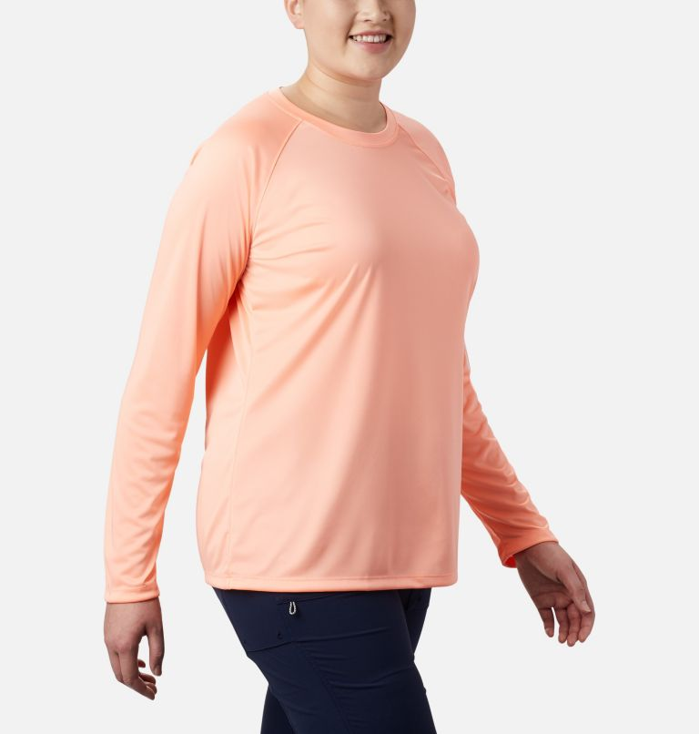 Tidal Tee™ II Long Sleeve | 884 | 1X Women's PFG Tidal Tee™ II Long Sleeve - Plus Size, Tiki Pink, White Logo, a3