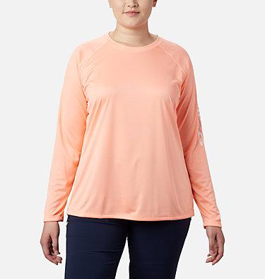 Women's PFG Tidal Tee™ II Long Sleeve - Plus Size Tidal Tee™ II Long Sleeve   759   2X, Tiki Pink, White Logo, front