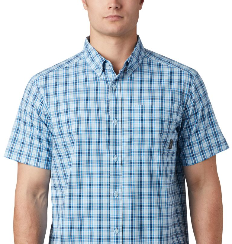 Rapid Rivers™ II Short Sleeve Shirt | 463 | S Men's Rapid Rivers™ II Short Sleeve Shirt, Azure Blue Mini Gingham Plaid, a1