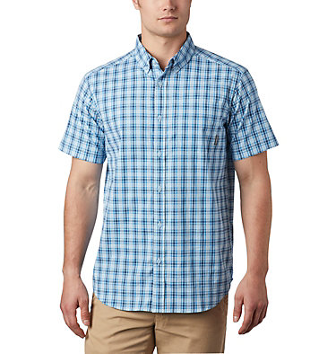 Men's Rapid Rivers™ II Short Sleeve Shirt Rapid Rivers™ II Short Sleeve Shirt | 463 | L, Azure Blue Mini Gingham Plaid, front