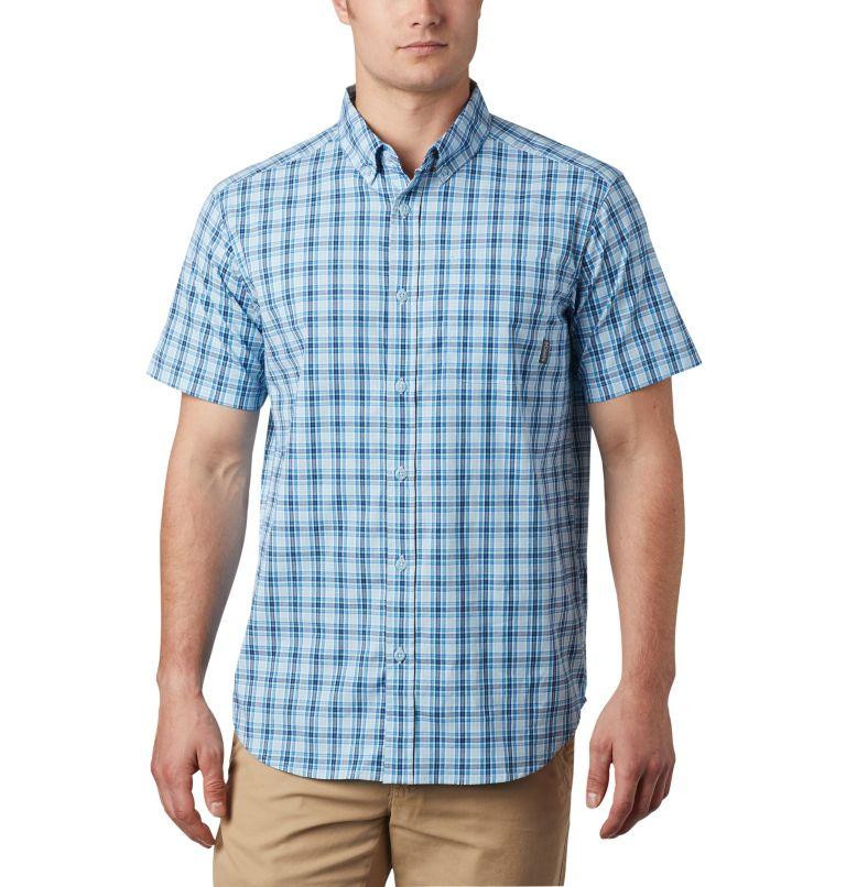Rapid Rivers™ II Short Sleeve Shirt | 463 | S Men's Rapid Rivers™ II Short Sleeve Shirt, Azure Blue Mini Gingham Plaid, front