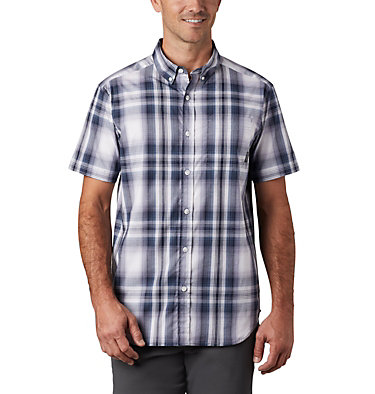 Men's Rapid Rivers™ II Short Sleeve Shirt Rapid Rivers™ II Short Sleeve Shirt | 463 | L, Collegiate Navy Ombre Plaid, front