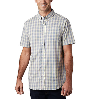Men's Rapid Rivers™ II Short Sleeve Shirt Rapid Rivers™ II Short Sleeve Shirt | 463 | L, Light Coral Mini Gingham Plaid, front