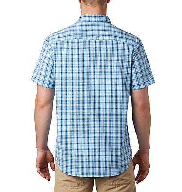 Men's Rapid Rivers™ II Short Sleeve Shirt – Big Rapid Rivers™ II Short Sleeve Shirt | 465 | 1X, Azure Blue Mini Gingham Plaid, back