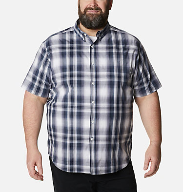 Men's Rapid Rivers™ II Short Sleeve Shirt – Big Rapid Rivers™ II Short Sleeve Shirt | 465 | 1X, Collegiate Navy Ombre Plaid, front