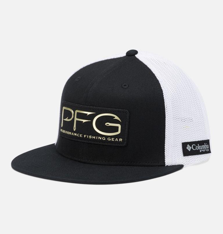 PFG Mesh™ Flat Brim Ball Cap | 014 | L/XL PFG Mesh™ Flat Brim Ball Cap, Black, PFG Hook Patch, front