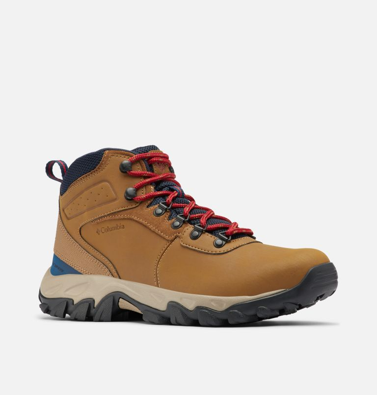 NEWTON RIDGE™ PLUS II WATERPROOF WIDE | 234 | 10.5 Men's Newton Ridge™ Plus II Waterproof Hiking Boot - Wide, Light Brown, Red Velvet, 3/4 front