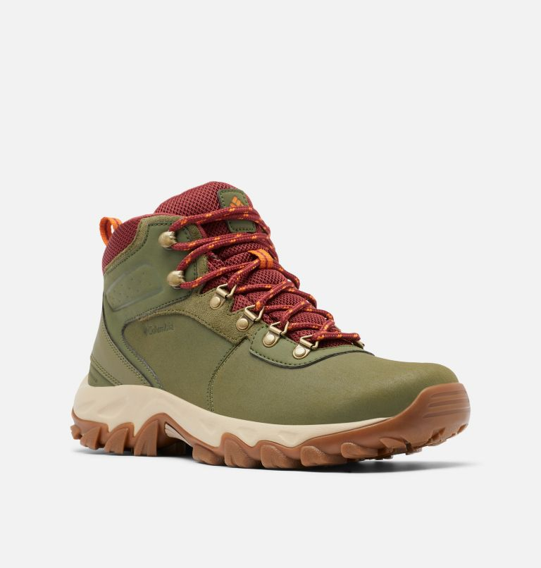 NEWTON RIDGE™ PLUS II WATERPROOF WIDE | 371 | 9 Men's Newton Ridge™ Plus II Waterproof Hiking Boot - Wide, Hiker Green, Marsala Red, 3/4 front