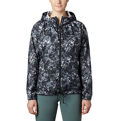 Women's Flash Forward™ Printed Windbreaker Jacket Flash Forward™ Printed Windbreaker | 490 | M, Black Rubbed Texture, front