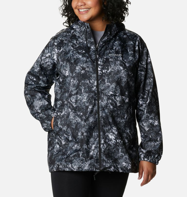Women's Flash Forward™ Printed Windbreaker – Plus Size Women's Flash Forward™ Printed Windbreaker – Plus Size, front